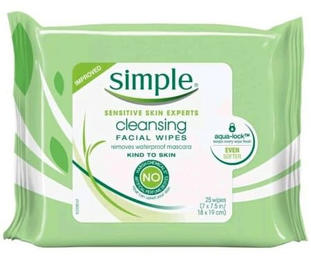 Simple Kind to Skin Facial Wipes Cleansing (25 Wipes)