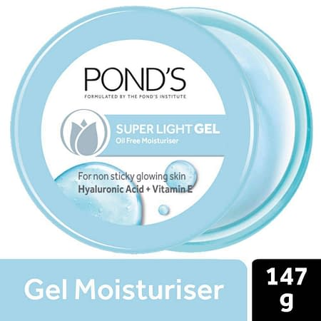 POND'S Super Light Gel Face Moisturiser with Hyaluronic Acid and Vitamin E, 147 g (Light Gel Moisturiser)
